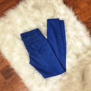 Bebe Surf The Web Cobalt Blue Skinny Jeans 27
